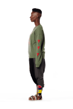 Badu in Africa Crewneck - Army Green
