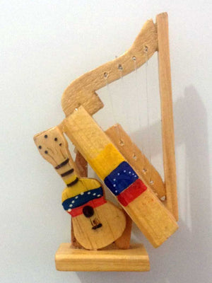 Beautiful wooden Harp and Cuatro / Arpa y Cuatro Fridge Magnet, Decorative Magnet  (Venezuelan Flag / Bandera de Venezuela)