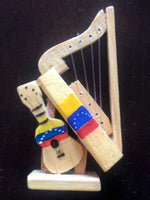 Beautiful wooden Harp and Venezuelan Cuatro Decorative Magnet