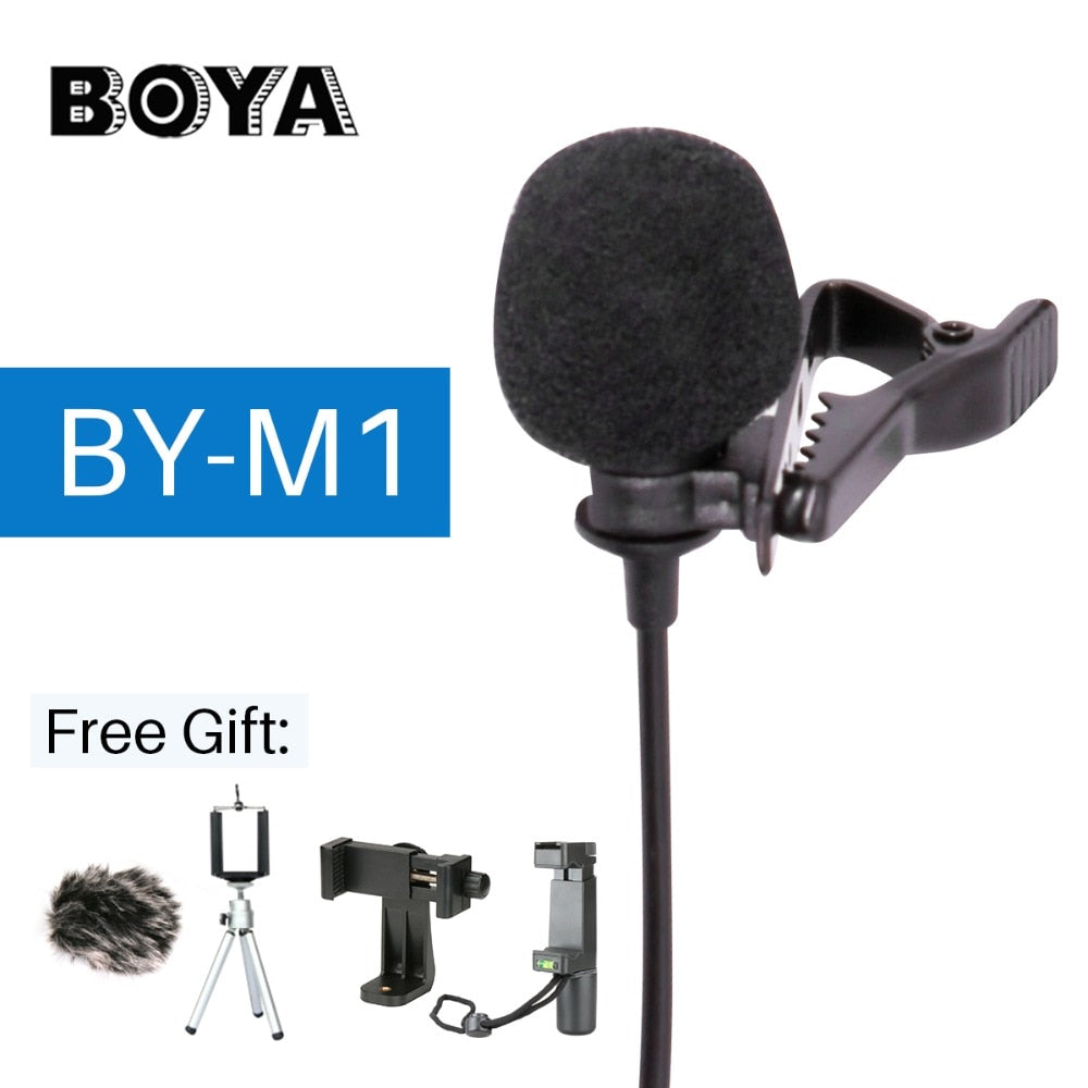 BOYA BY-M1 Lavalier Audio Video Microphone Clip-On Condenser Mic Recorder for iPhone X 8 Pkus Canon Nikon DSLR Zoom Camcorder