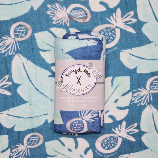 Tony & Mei Collab- Ultra Soft Bamboo Muslin Swaddle - EXCLUSIVE - Blue Pineapple Leaf