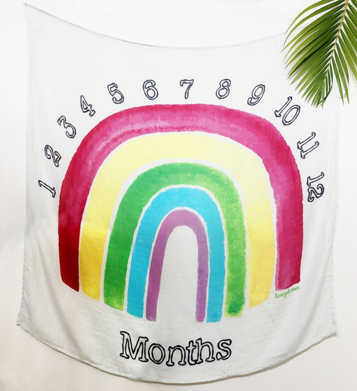 Tony & Mei - Ultra Soft Bamboo Muslin Swaddle - Rainbow Monthly Milestone