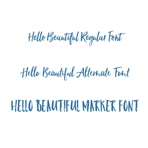 hello beautiful font: regular, alternate and marker fonts