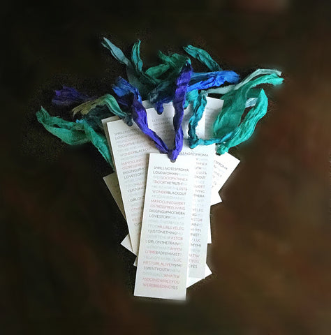 Colorful handmade bookmarks with ribbon