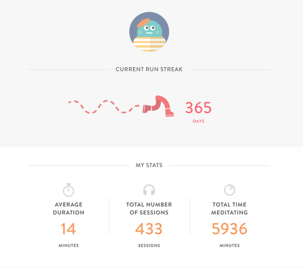 headspace app for meditation tracking run streak