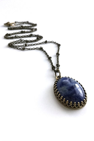 Navy blue pendant necklace, long brass chain, Sodalite jewelry
