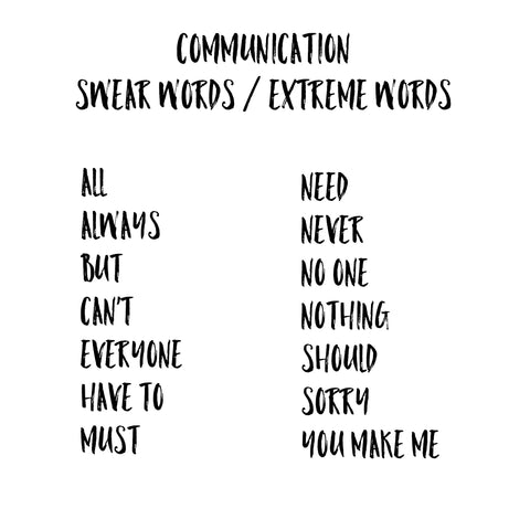 Communication Extreme Words from DBT counseling therapy