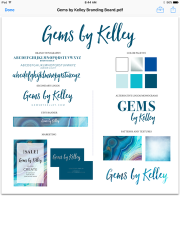 Branding Board for Gems by Kelley handmade jewelry design & Etsy shop