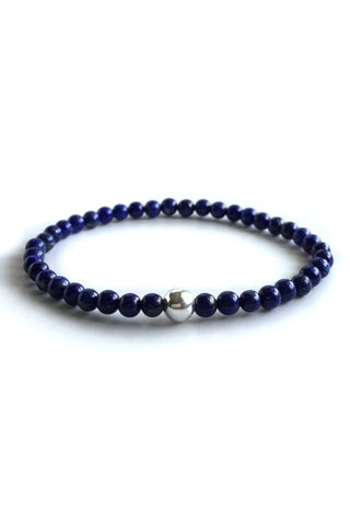 Genuine Lapis Lazuli bracelet, Sterling silver beaded jewelry