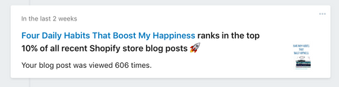 your blog post is in the top 10% of all recent shopify blogs