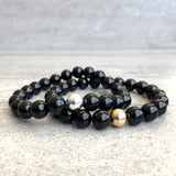Stackable black bracelets
