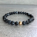 Bull's Eye Agate Bracelet | Gold Stretch Bracelet for Women, Men | Healing Crystal Jewelry
