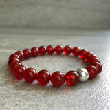 carnelian mala bead bracelet for women, men