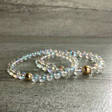 Clear crystal quartz bracelet set