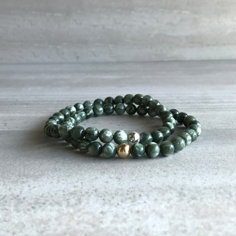 Seraphinite Bracelet | Natural Gemstone Stretch Bracelet | Genuine Seraphinite Jewelry
