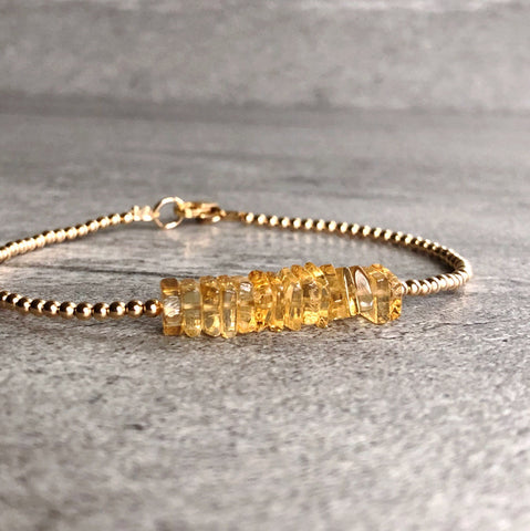Yellow Citrine Bracelet | Delicate Gemstone Bracelet for Women | Small Bead Bracelet