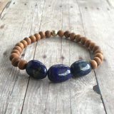 Lapis Lazuli & Sandalwood Bracelet / Natural Gemstone & Wood Bead Jewelry