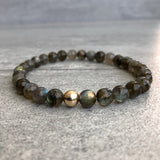 Labradorite bracelet with gold accent