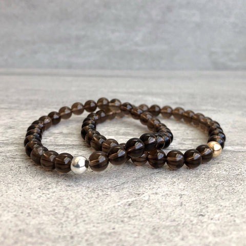 Smoky Quartz Bracelet | Women's, Men's Brown Crystal Stretch Bracelet | Gold or Silver Bead Jewelry