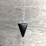 "Black Onyx Necklace | Faceted Gemstone Triangle Pendant | Long 16"" to 26"" Sterling Silver Chain"