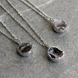 Round small druzy pendant necklace