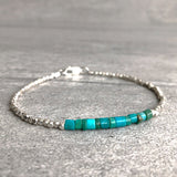 blue green turquoise bracelet with sterling silver beads