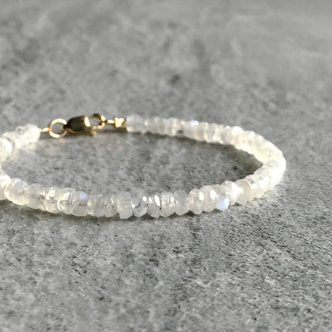 Rainbow Moonstone Bracelet / Gold or Sterling Silver Clasp / Women's or Men's White Gemstone Jewelry