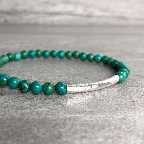 Genuine Turquoise Bracelet | December Birthstone Jewelry | Gemstone Stretch Bracelet