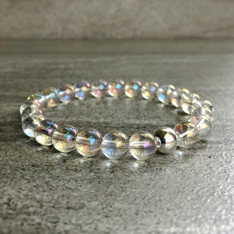 Clear crystal quartz bracelet with silver bead