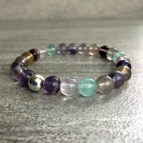 rainbow fluorite bracelet with silver bead