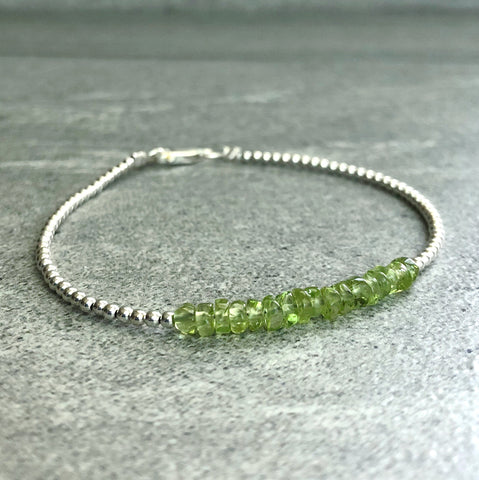 Real Peridot Bracelet | Green Crystal Bracelet with Gold or Silver Beads | August Birthstone Gift