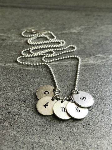 lower case letter initial charm necklace