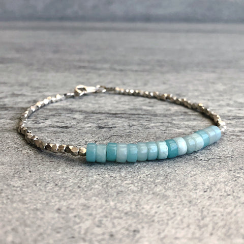 Amazonite Bracelet | Blue Gemstone Crystal Jewelry | Tiny Hill Tribe Silver Beads