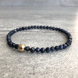 real sapphire bracelet with gold bead