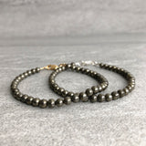 Stackable pyrite beaded bracelets