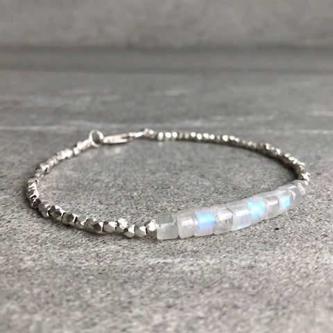 rainbow moonstone bracelet with hill tribe silver beads