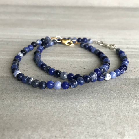 Sodalite Bracelet | Small Bead Bracelet for Women, Men | Blue Sodalite Jewelry