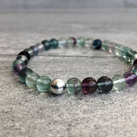 natural rainbow fluorite stretch bracelet