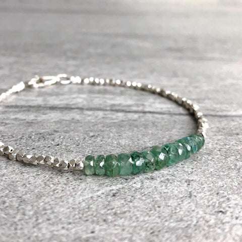 Green Kyanite Bracelet with hill silver beads