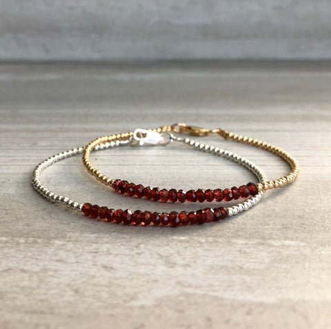 Red Garnet Bracelet | Delicate Bracelet with Tiny Gold or Silver Beads | Genuine Garnet Birthstones