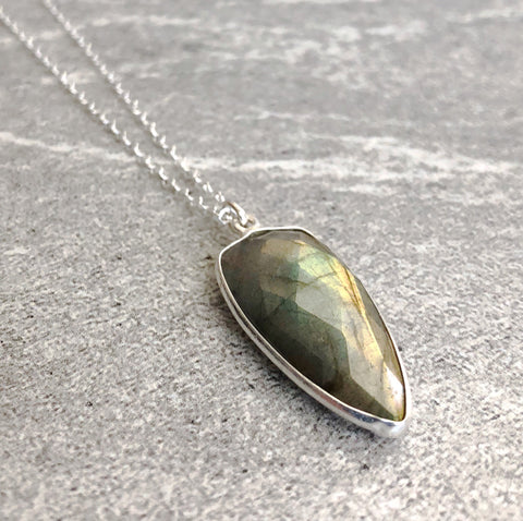 "Labradorite Necklace | Faceted Natural Crystal Pendant | 16"" - 26"" Sterling Silver Chain"