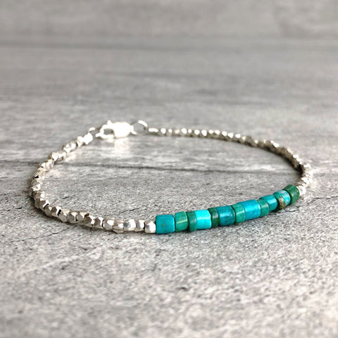 genuine turquoise bracelet with karen hill tribe silver nuggets