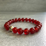 stretch carnelian bracelet with gold bead