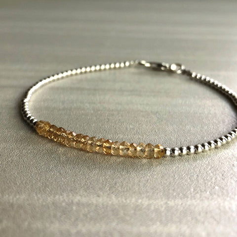 Yellow Citrine Bracelet | November Birthstone Gift | Dainty Delicate Beaded Bracelet