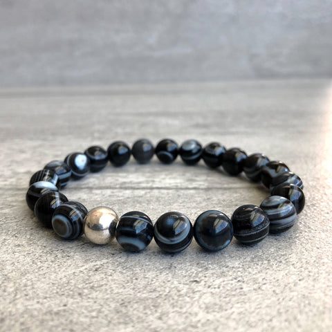 Bull's Eye Agate Bracelet | Sterling Silver or 14 K Gold Filled Beaded Stretch Bracelet for Women, Men