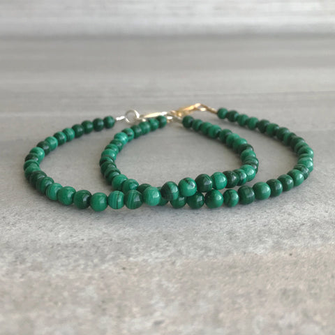 Malachite Bead Bracelet | Small Natural Stone Jewelry | Minimalist Bracelet for Women, Men