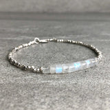 Rainbow moonstone and silver bracelet