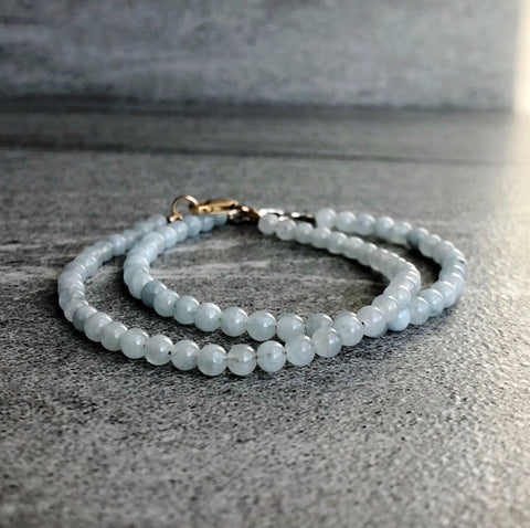 Genuine Aquamarine Bracelet | March Birthstone Gift for Women, Men | Gold or Silver Clasp