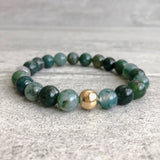 beaded agate bracelet with gold