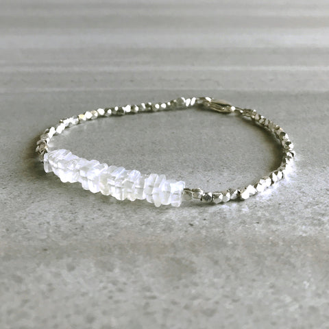 Moonstone Bead Bracelet / Hill Tribe Silver Jewelry / White Crystal Gemstone Bracelet